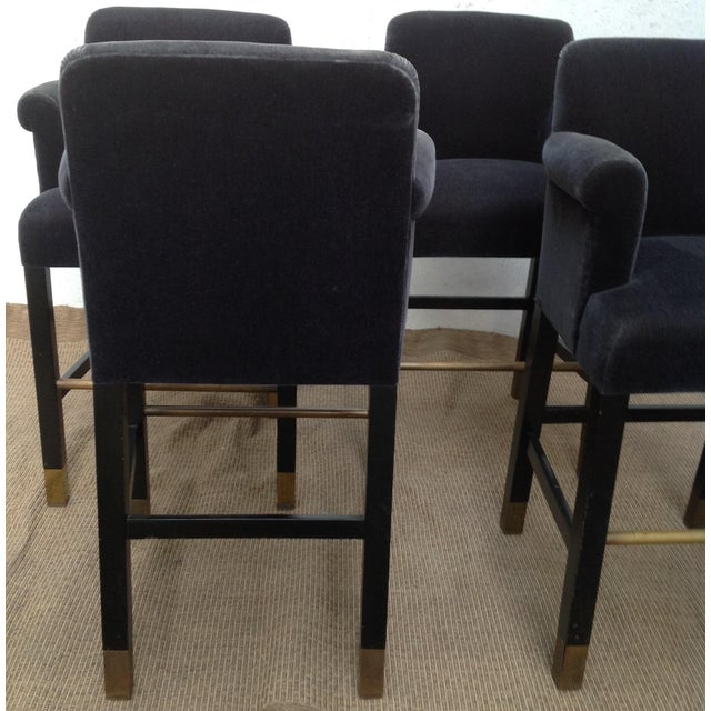1980s Vintage Donghia Bar Stools Slate-Blue Mohair Stools- Set of 4 For Sale - Image 5 of 11