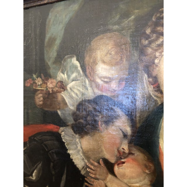 Mid 19th Century Large Original Oil on Canvas of Madonna and Child With Patrons For Sale - Image 5 of 13