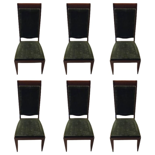 Gaston Poisson Numbered French Art Deco Dining Chairs - Set of 6 - Image 1 of 5