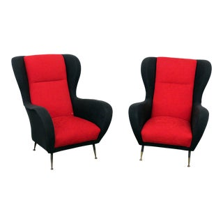 20th Century Italian Modern Paolo Buffa Black and Red Lounge Chairs - a Pair For Sale