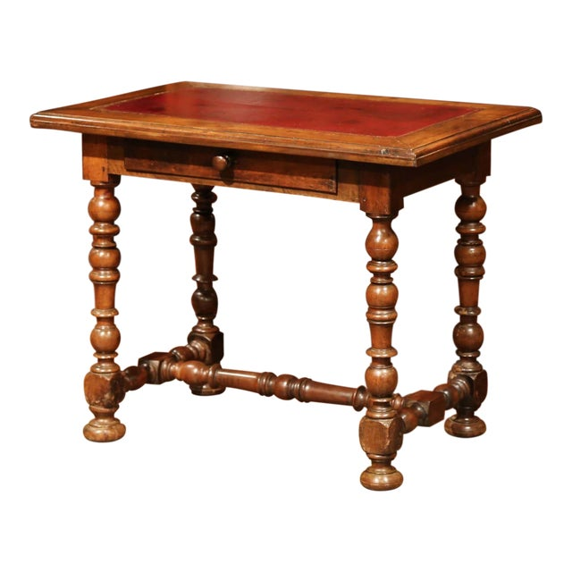 19th Century, French, Louis XIII Carved Walnut Table Desk With Red Leather Top For Sale