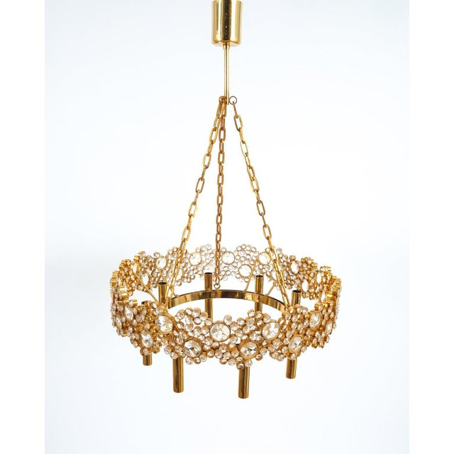 Mid-Century Modern Large Gilt Brass and Glass Chandelier Lamp, Palwa circa 1960 For Sale - Image 3 of 8