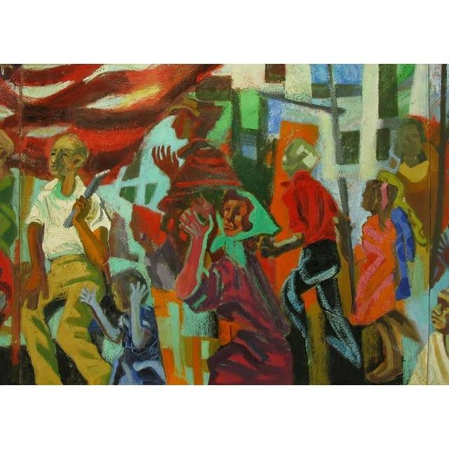 Oil Paint Important 12.5' 1965 Civil Rights Mural by Joan Linsley (1922-2000) For Sale - Image 7 of 11