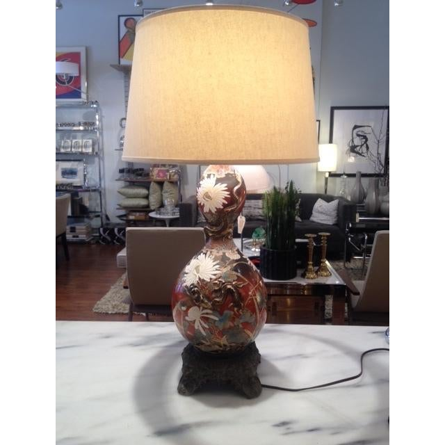 Vintage Asian Hand Painted Ceramic Gord Lamp - Image 2 of 11
