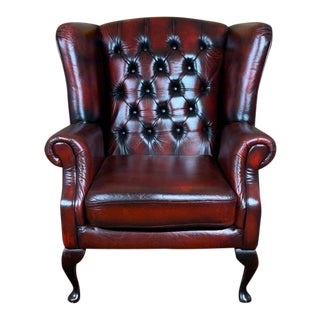 Vintage Mid-Century Oxblood English Leather Chesterfield Wingback Chair For Sale