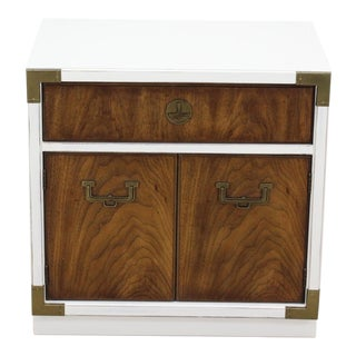Campaign Style Nightstand, Mid Century White Nightstand For Sale