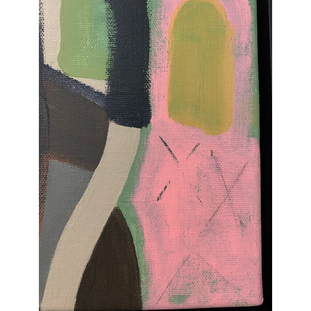 Pink Contemporary Abstract Black Floater Framed Original Painting For Sale - Image 8 of 9