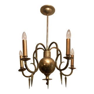1920s Swedish Grace Bronze Chandelier For Sale