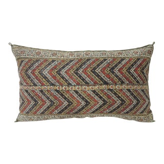 Vintage Indian Red and Gold Long Decorative Lumbar Pillow For Sale
