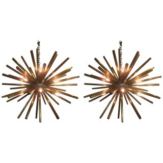 Pair of Italian Vintage Brass Sputniks For Sale