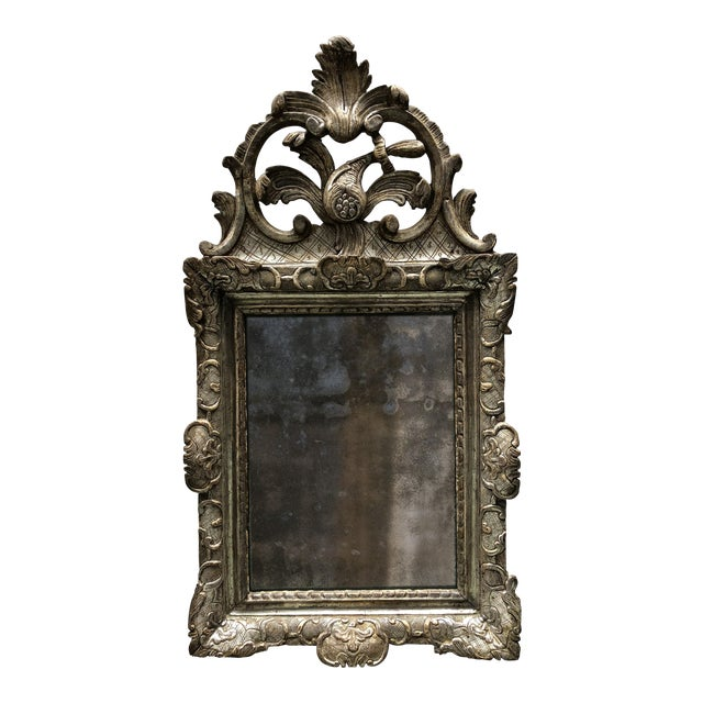 Rare 18th Century Silver Leaf Gilded Louis XIV Mirror For Sale
