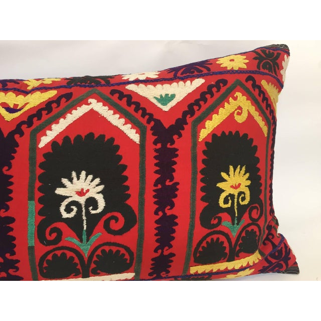 Cotton Vintage Large Colorful Suzani Embroidery Decorative Throw Pillow From Uzbekistan For Sale - Image 7 of 13