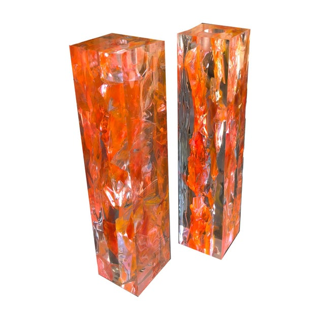 Pair of Vintage Orange Resin Candlesticks Signed N M For Sale - Image 10 of 11