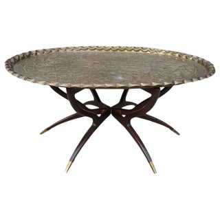 Large Vintage Brass Tray Coffee Table on Midcentury Folding Base For Sale