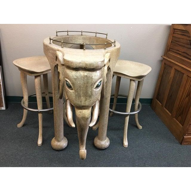 Marge Carson Elephant Bar & Stools - Set of 3 - Image 2 of 9