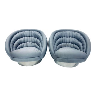 "Pair of Vladimir Kagan ""Crescent"" Swivel Club Chairs For Sale"