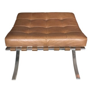 Vintage Knoll Brown Leather Barcelona Stool