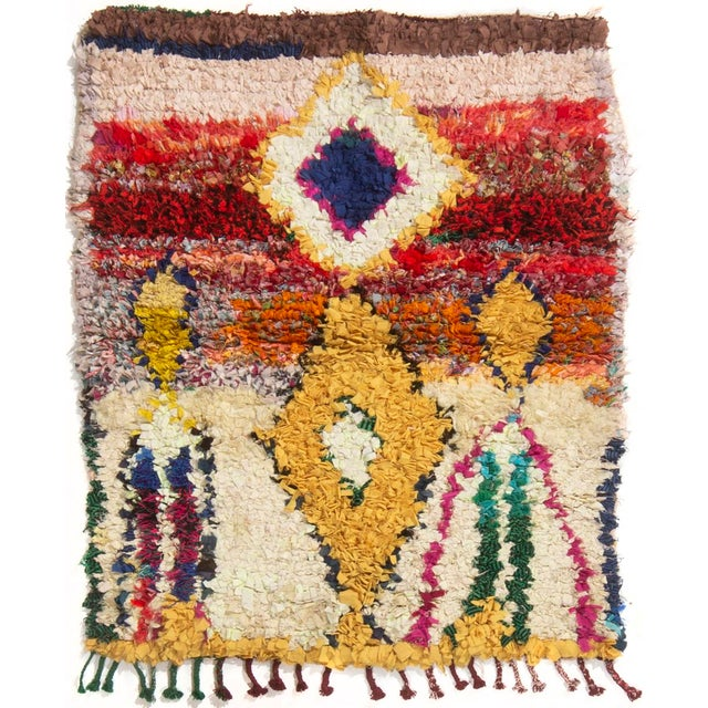 Vintage Midcentury Moroccan Transitional Yellow and Red Fabric Rug - 3′4″ × 4′1″ For Sale In New York - Image 6 of 6