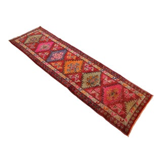 Conspicuous Kurdish Runner Herki Rug. Hand-Knotted Tribal Short Halway Rug - 3′1″ × 10′7″ For Sale