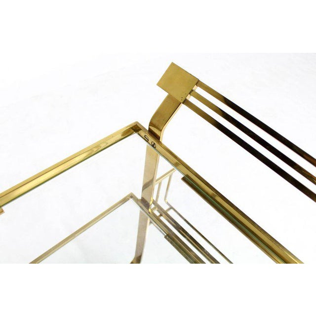 Mid 20th Century Solid Brass and Glass Mid-Century Modern Bar Cart For Sale - Image 5 of 9