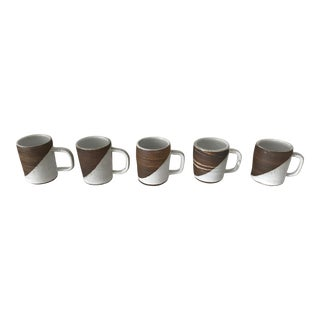 Hand Thrown Agateware Swirl Mugs - Set of 5 For Sale