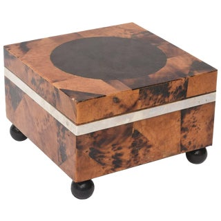 1970s Modern Maitland-Smith Tessellated Tortoise Shell Square Hinged Box For Sale