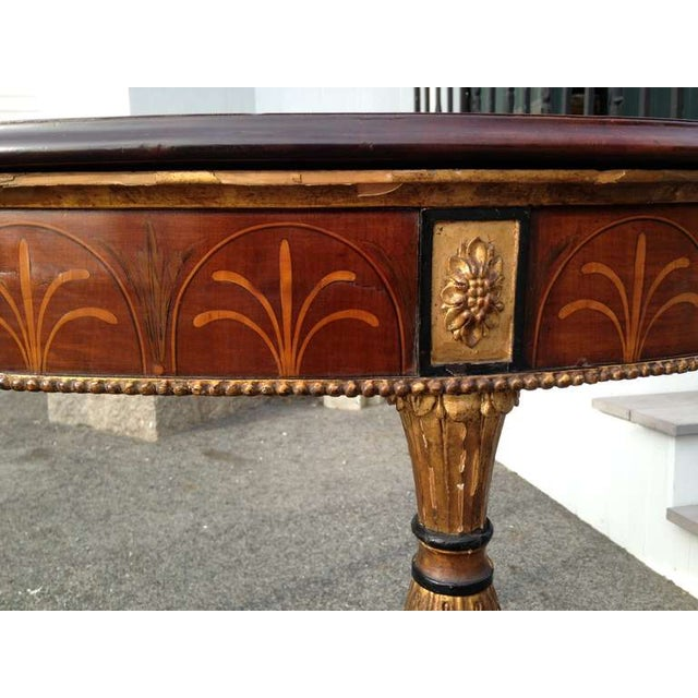 Period Adam Elaborately Inlaid and Marquetry Satinwood and Sycamore Half Round Irish Console Table --Top Inlaid with...