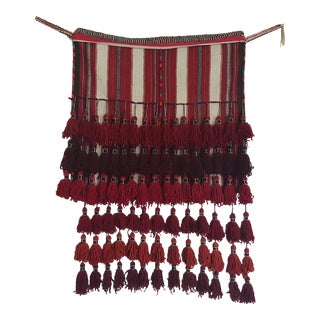Bedouin Ceremonial Wool Tasseled Tapestry Bag For Sale