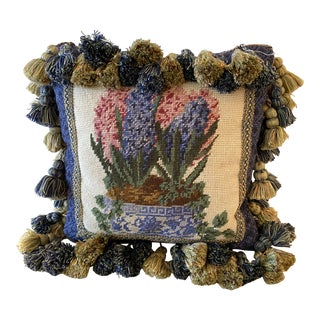 1990s Needlepoint Pillow With Flowers Motif Trimming With Tassels All Around For Sale