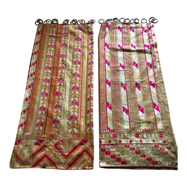 Antique Indian Phulkari Fabric Panels - A Pair - Image 1 of 12