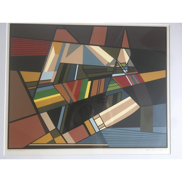 """Vintage Mid-Century Modern Abstract Geometric """"African Landscape I"""" Lithograph Print For Sale - Image 4 of 10"""