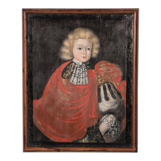 18th Century Antique Portrait of a Royal Child in a Red Cape Oil Painting For Sale