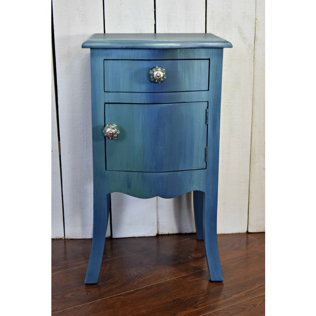 Small Bohemian Blue Painted Cabinet For Sale In Washington DC - Image 6 of 6