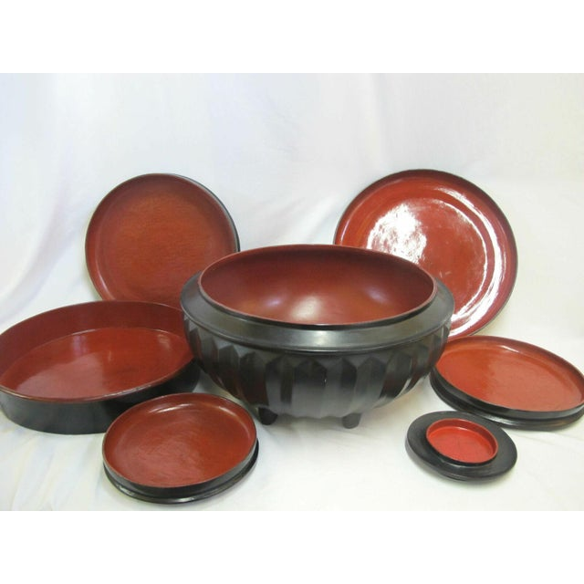 Asian 19th Century Antique Burmese Conical Compartment Food Offering Bowls- 7 Pieces For Sale - Image 3 of 12