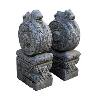 Small Hand Carved Crouching Lion Sculptures - A Pair