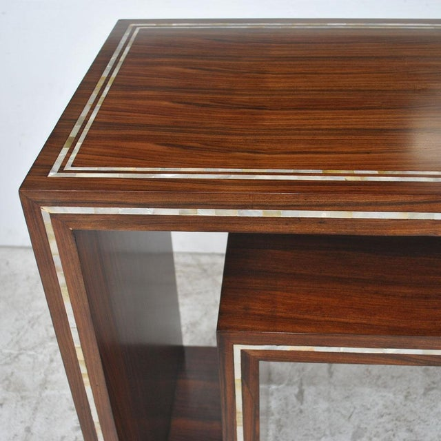 Modern Rosewood With Mother of Pearl Entry Sofa Table For Sale - Image 4 of 7