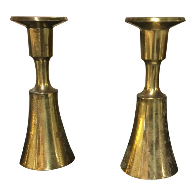 Danish Brass Thin Candlesticks - a Pair - Image 1 of 5