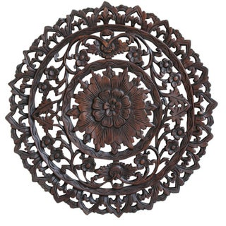 Burmese Dark Brown Carved Teak Panel For Sale