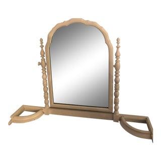 Vintage Wooden Barley Twist Vanity Mirror For Sale