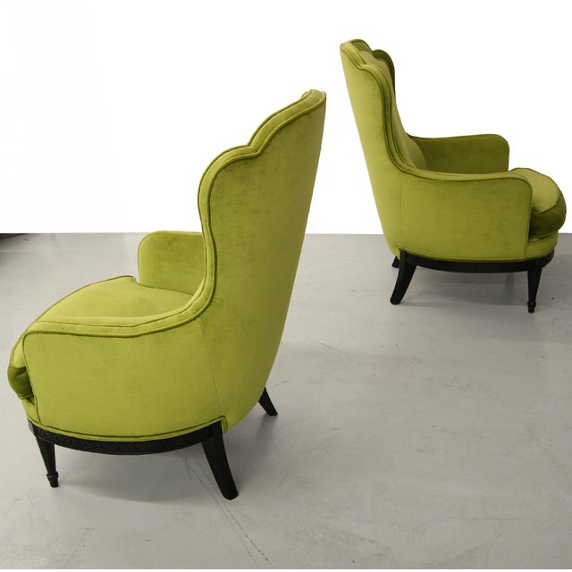 Mid Century Bergere Parlor Chairs - Pair - Image 5 of 7