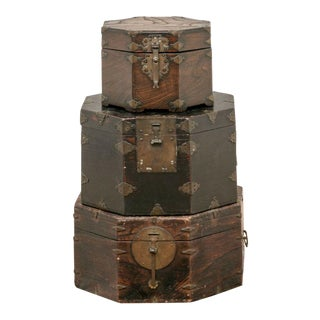 Early 20th Century Lift Top Asian Stacking Storage Boxes With Brass Fittings - Set of 3 For Sale