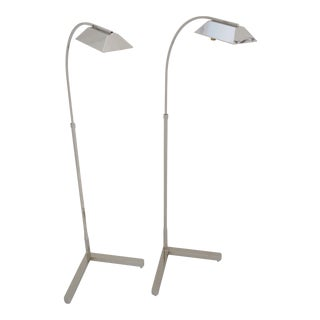 Vintage Casella Floor Lamps Nickel Re-Plated and Rewired For Sale
