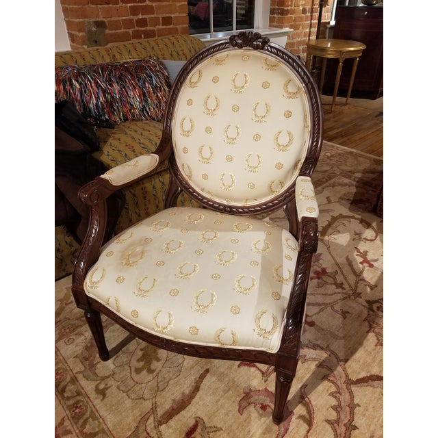 French Mid 20th Century Louis XVI Fauteuil For Sale - Image 3 of 9