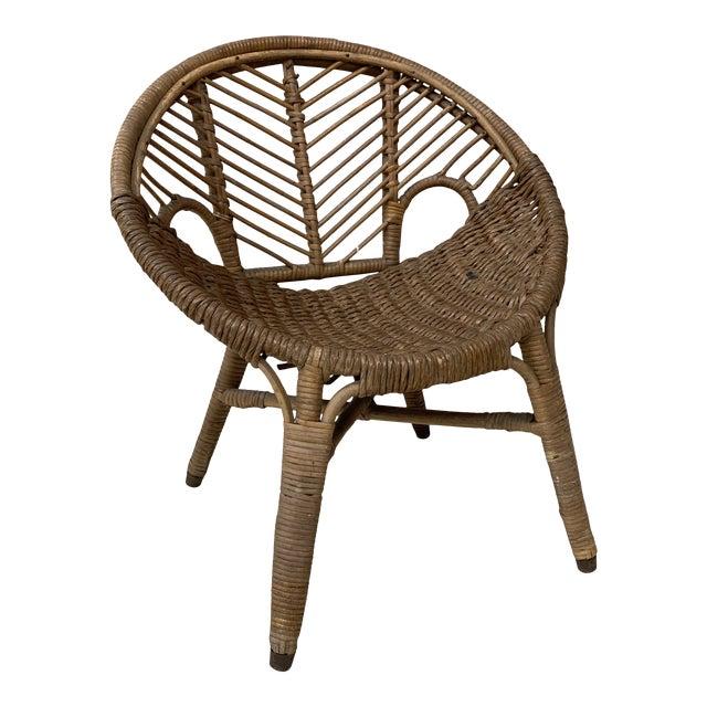 1920s Folk Art Wicker Child's Barrel Chair For Sale