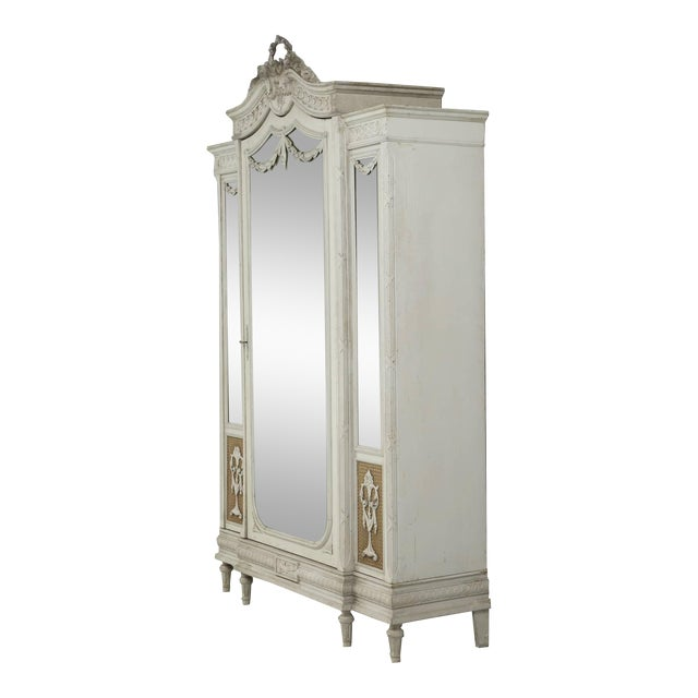 Antique French Original Painted Armoire, Circa 1900 For Sale
