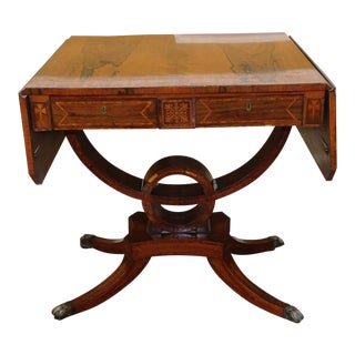 Antique 19th Century Inlaid & Banded Rosewood Drop Side Regency Console Sofa Table c1850 For Sale