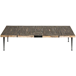 Deco Onyx Inlaid Coffee Table With Metal Legs For Sale
