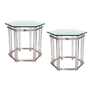 Hexagonal Lucite Side Tables - a Pair For Sale
