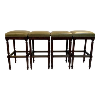 Raffles Green Leather Upholstered Backless Bar Stools-Set of 4 For Sale
