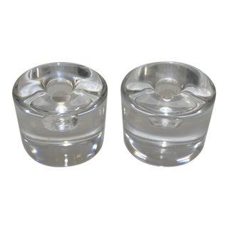 Glass Crystal Candlesticks - A Pair